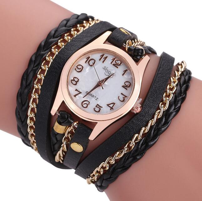 Luxury Brand Leather Quartz Watch Women Ladies Casual Fashion Bracelet Wrist Watch Clock Relogio Feminino Leopard Braided Female