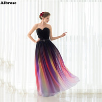 Stok Seksi Plaj Evenig Elbise Daldırma Boyama Şifon Abiye elbiseler Uzun Resmi Elbise Chic Balo Ucuz vestido de festa