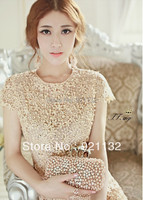 Free Shipping Women New Fashion Dress Pearls Beading Hollow out Flower Lace Short Sleeve Slim Noble Princess Party Dress Beige