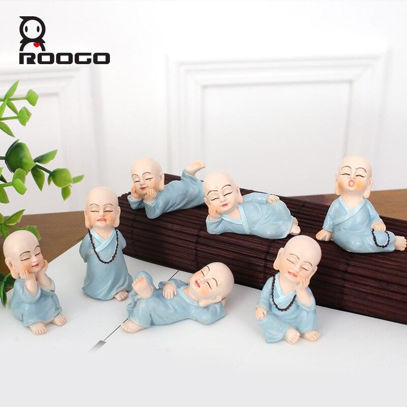 roogo divertido monje figuras unidsset venta caliente vida forma miniatura figura ornamento escritorio
