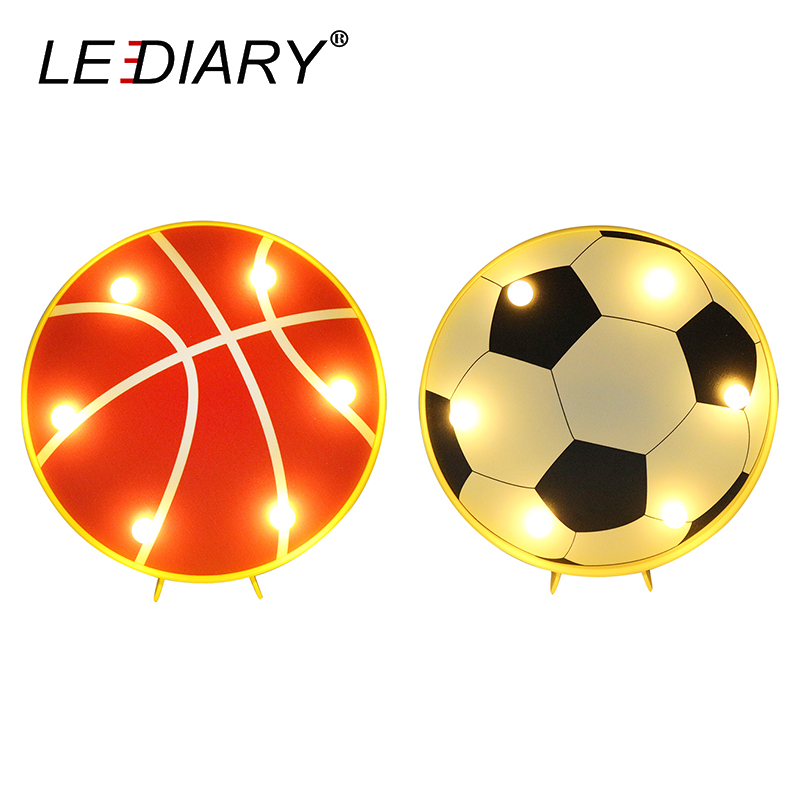 LEDIARY 3D LED Colorful Basketball Football Night Lights With USB Charger Home Holiday Decoration Desk Bedside Lamp Kids Gift image