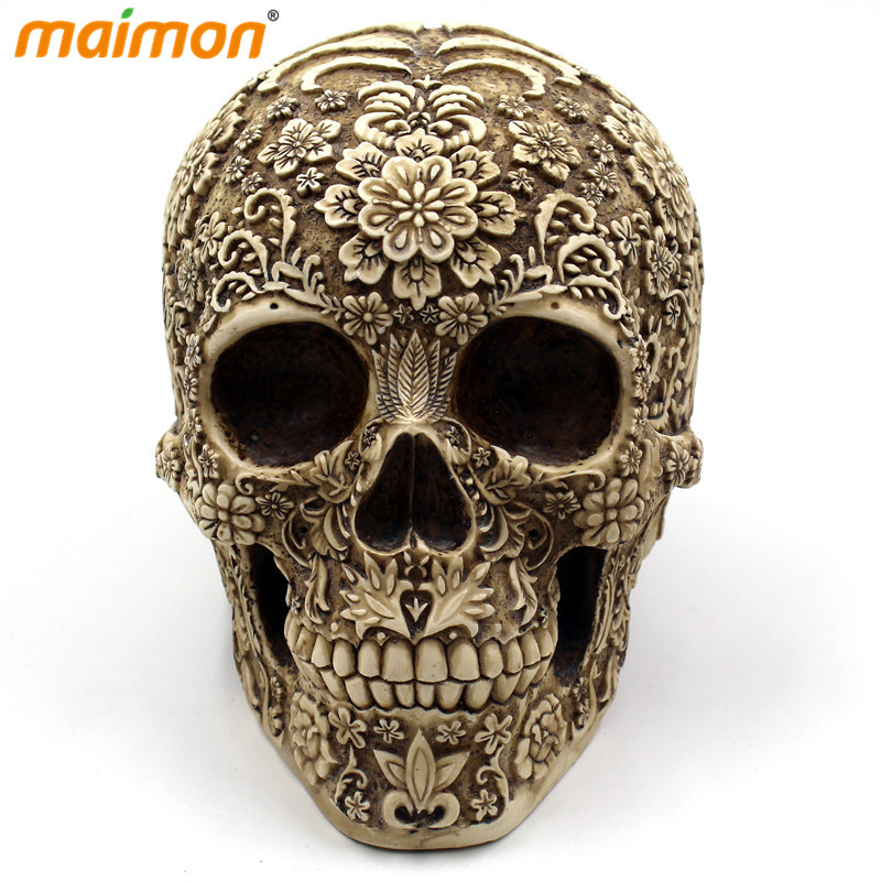 Délicate Fleur Crâne Ornements Horreur Résine Crâne Os Squelette Crâne  Décor Home Bar Table Halloween Décor Parti Événement Fournitures c2ac7109233