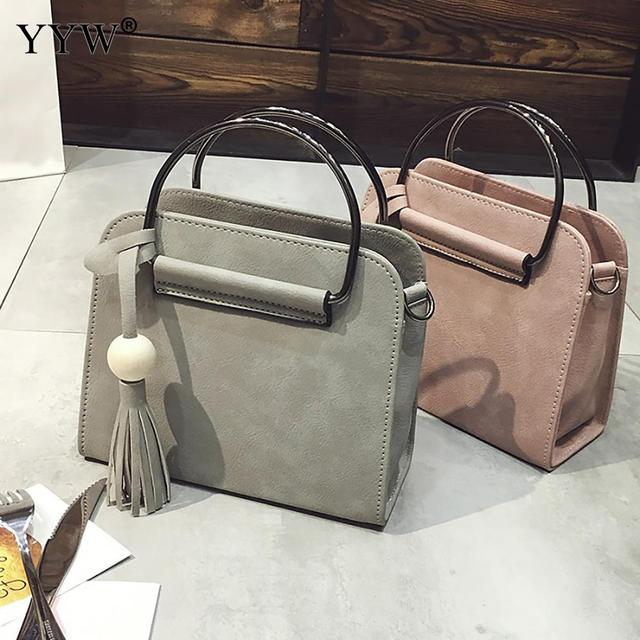 Vintage Light Grey Tote Bag For Women Brand Luxury S Pu Leather Handbags Shoulder Bags Famous
