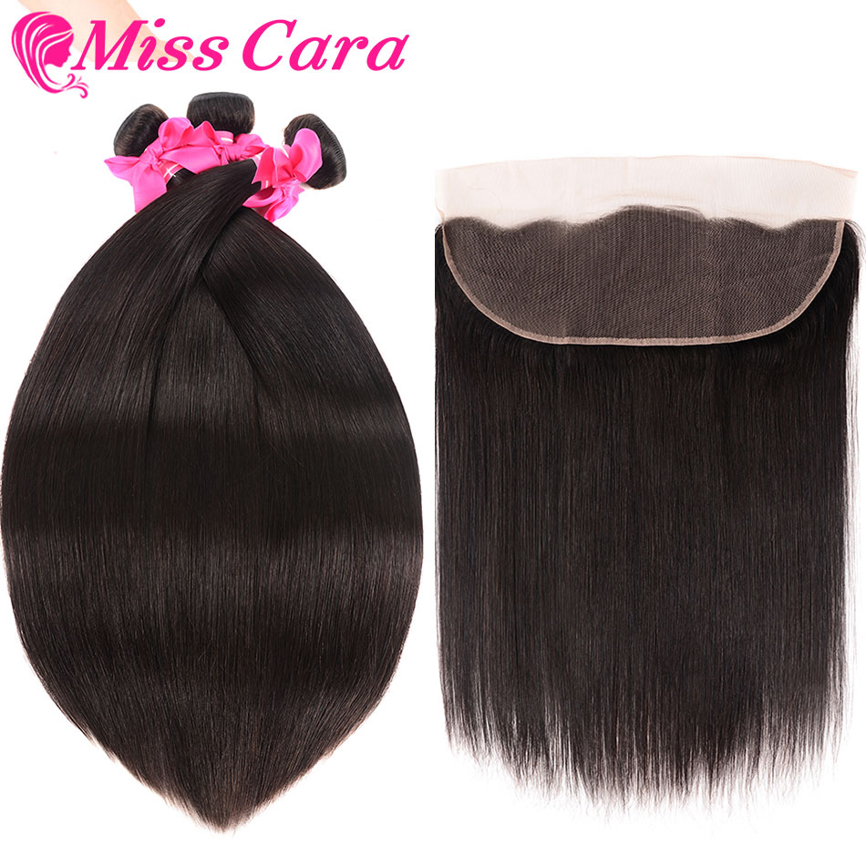 Malaysian Straight Hair Bundles With Frontal Closure 100 Human Hair 3 4 Bundles With Frontal Miss