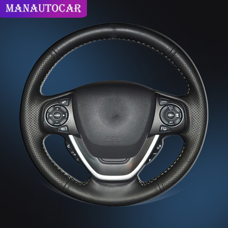 Auto Braid On The Steering Wheel Cover for Honda Freed Hand Sewing Car Steering Wheel Cover Car Styling Interior Accessories-in Steering Covers from Automobiles & Motorcycles