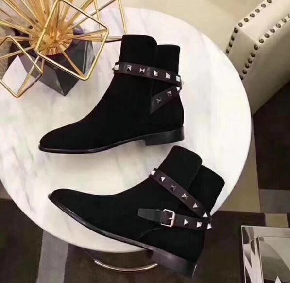 Espárragos Pic Botas Mujer Zapatos Gamuza Caliente 2019 Tobillo as Cuero De Diseño As Marca Pisos Remaches Zapatillas Follwwith Pic Hebillas BYnqpHwz