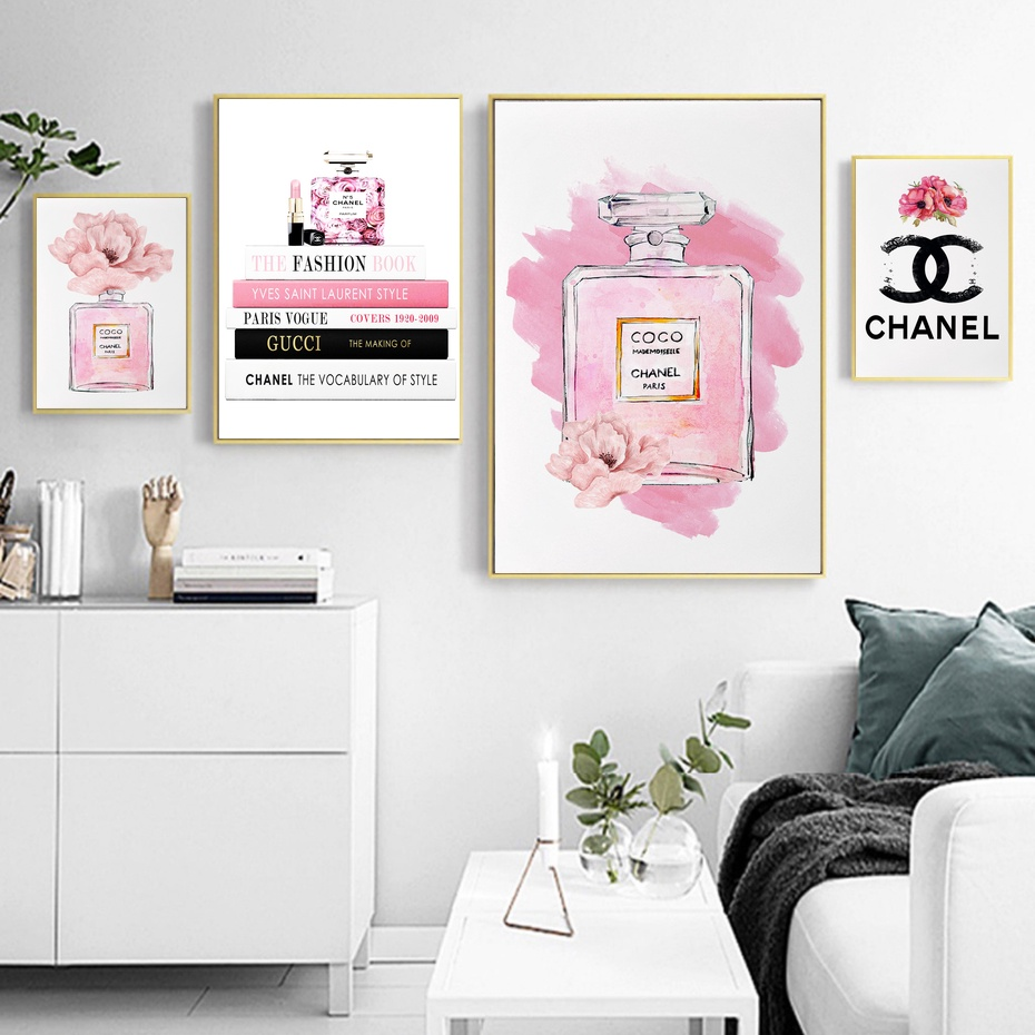 Modern home decor pink perfume bottle canvas painting coco wall pictures for living room fashion posters and print wall art in painting calligraphy from