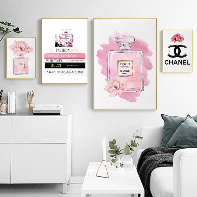 Modern Home Decor Pink Perfume Bottle Canvas Painting Coco Wall