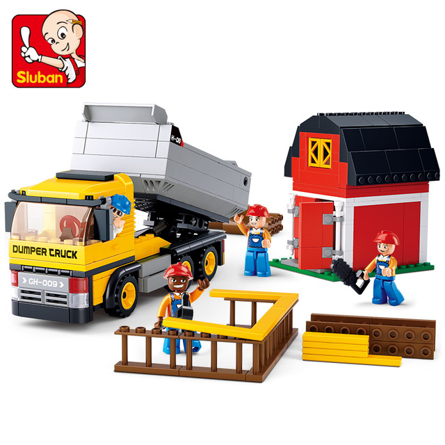 SLUBAN 0552 384pcs City Engineering Series Building Blocks SimCity Dumpers DIY Kids Creative Bricks Toys Christmas Gift image