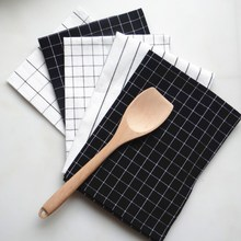 Многоразовый кухонный текстиль салфетки Ins ветер простой дизайн проверки и полосы салфетка для домашнего использования кухонное полотенце 40x60 NP0804