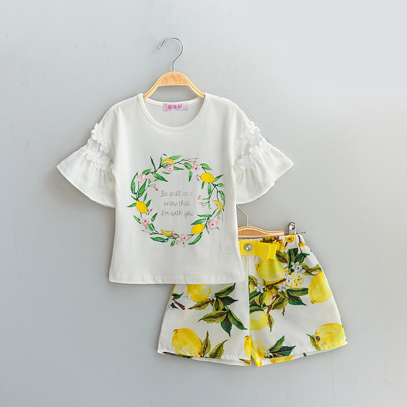 Brand Girls Clothing Set Summer Beach Clothes Set Toddler Girl Lemon Shorts Pants + Flower Tops Tees Girls 2pcs Kids Clothes Set natural selection