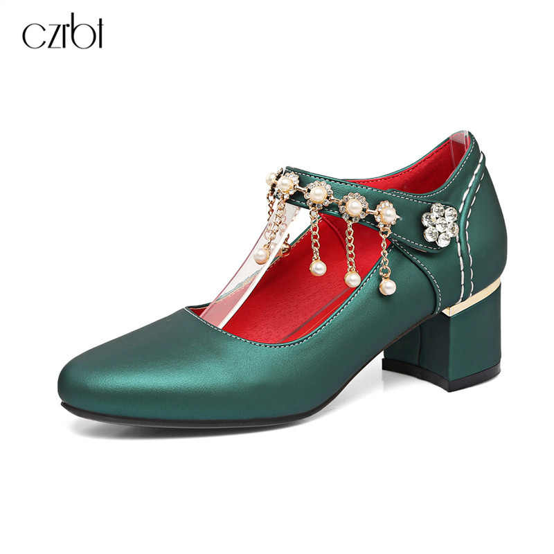 Sweet Color String Bead Ladies Shoes Woman Shoes Pumps Mary Jane Thick High Heel Pointed Toe Women Wedding Dress Shoes 33-48 plus big size 34 52 shoes woman 2017 new arrival wedding ladies high heel fashion sweet dress pointed toe women pumps e 177