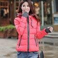 2017 senhora do inverno magro curto algodão-acolchoado Com Capuz parka casaco jaqueta de inverno mulheres casaco de inverno feminino amassado outerwear jaqueta