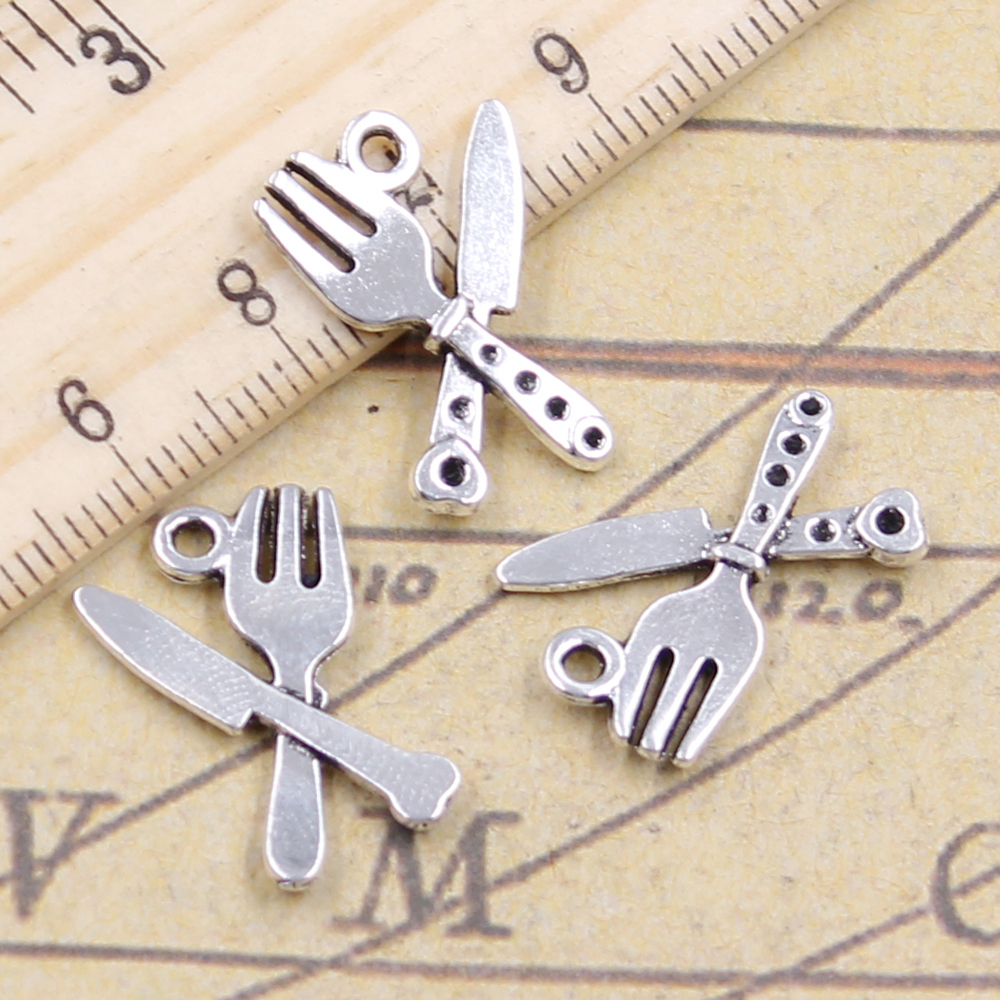 10pcs Charms Cutlery Knife Fork 20x14mm Antique Silver Plated Pendants Making Diy Handmade Jewelry Factory Wholesale Year-End Bargain Sale