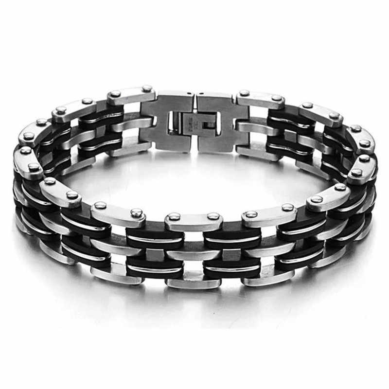 MD Men Silver Cross Stainless Steel Black Rubber Bangle Wristband Motorcycle Black Silicone Bracelet