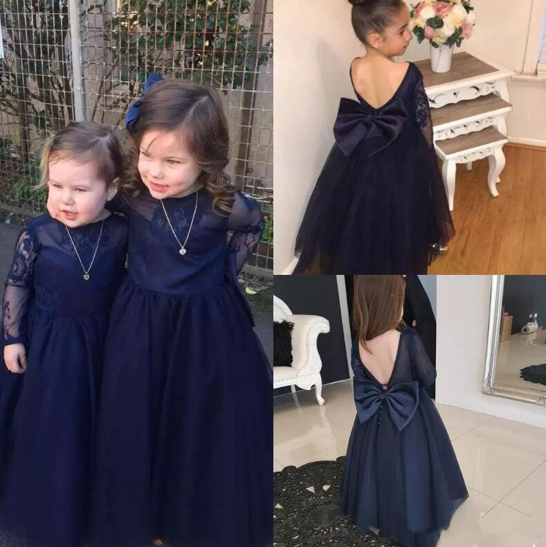 New Deep Blue Long Sleeves Flower Girls Dresses for Wedding Lace Tulle with Big Bow CUSTOM Any Size deep blue fashion long sleeves side pockets embroidery jacket