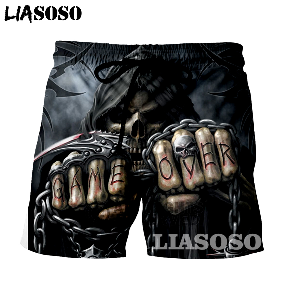 LIASOSO New fashion Summer Men Beach   Shorts   3D Print Skull grim Reaper Men's Boardshorts Trousers hot style G888