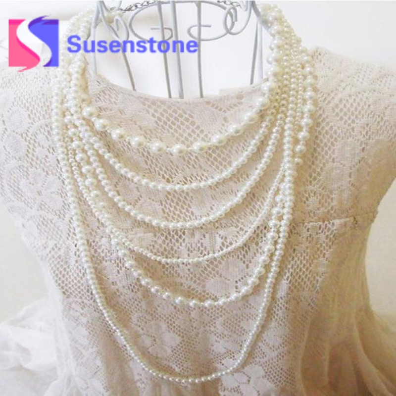 2018 Hot Fashion Pearl Multilayer necklaces Long Simulated Pearl necklace Pearl Chain Statement necklaces Jewelry Free Shipping
