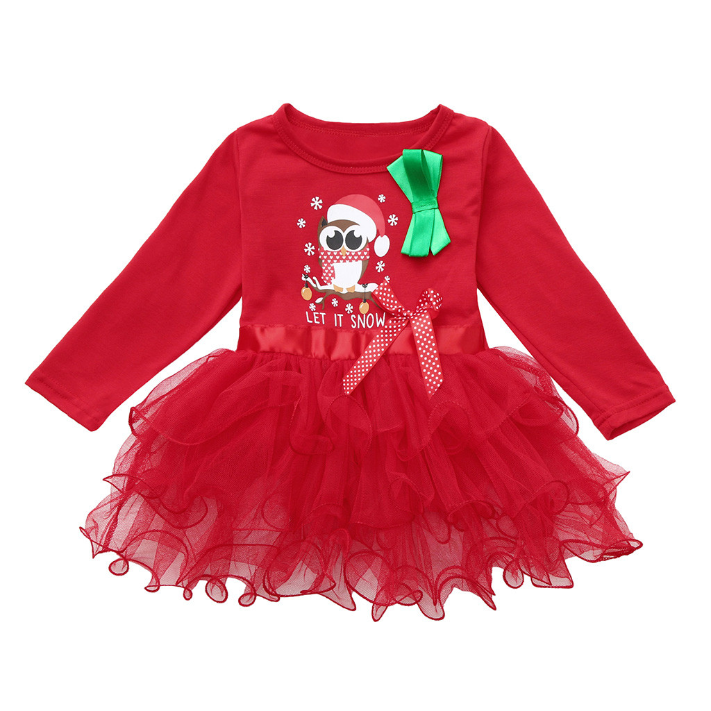 Cartoon Dressing Gown: Christmas Long Sleeve Cartoon Letter Print Mesh Dress Baby