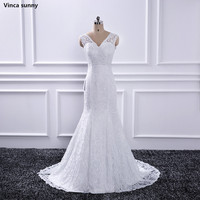 2018 Sexy Mermaid Wedding Dress V neck Open Back Fashion Lace White/ Ivory Bridal Gowns Sweep Train Vestido De Noiva In Stock