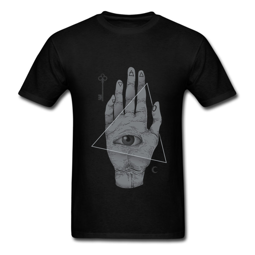Witch Hand All Seeing Eye illuminati Cool Design men t shirt 2018 Summer Anime T-shirts black White tee shirt