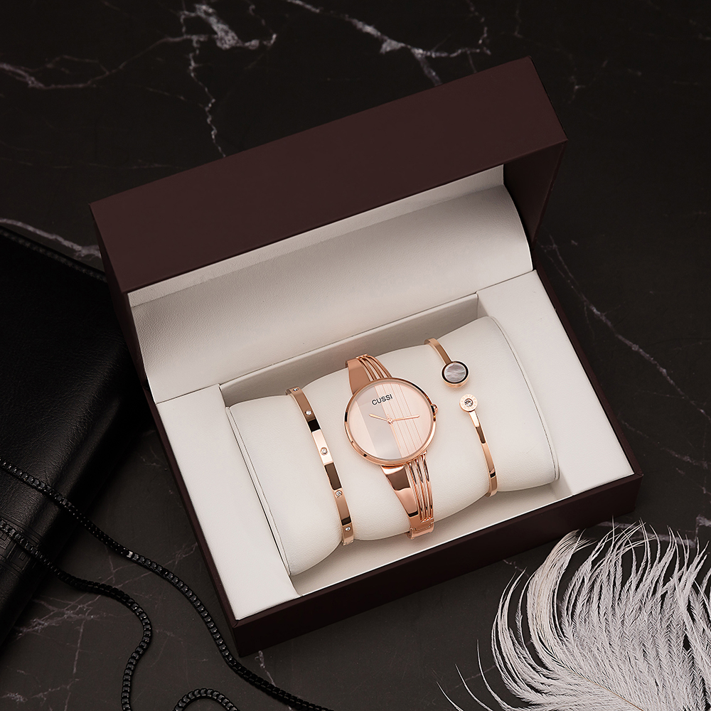 CUSSI Brand Wristwatches Women 3 Pcs Fashion Stainless Steel Bracelets With Big Watch Box Set For Girlfriend Gift Rose Gold Hot