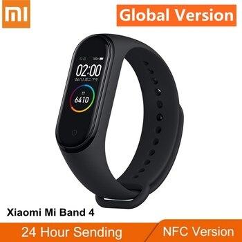 Orijinal Xiao mi mi bant 4 NFC sürümü SPOR Bilezik Küresel Sürüm 125 mAh 5ATM Bluetooth 5.0 AI kontrolü NABıZ Monitörü