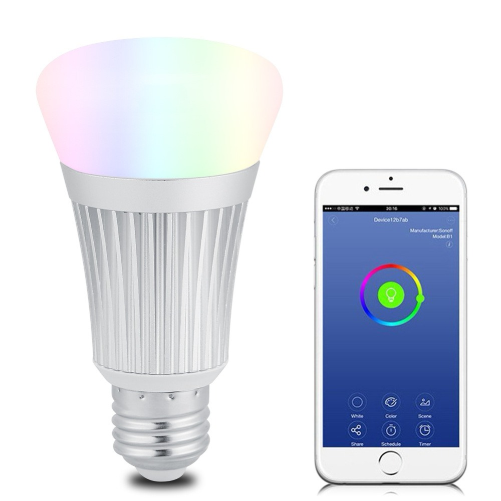 Dimmable Lamp RGB Color Smart Wifi E27 LED Light Bulb Remote ON/OFF Smart Home Automation Module Wifi Bulb Via Phone 1567 led bulb e27 85 265v 2 4g 9w led light bulb led smart bulb lamp dimmable remote control wifi controller box for living room