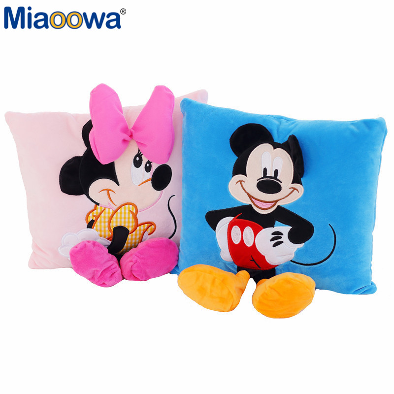 Hot Sale  Lovely Staffed Animal Pillow Cushion Cute Mickey Mouse And Minnie Mouse Plush Toys Gifts For KIds