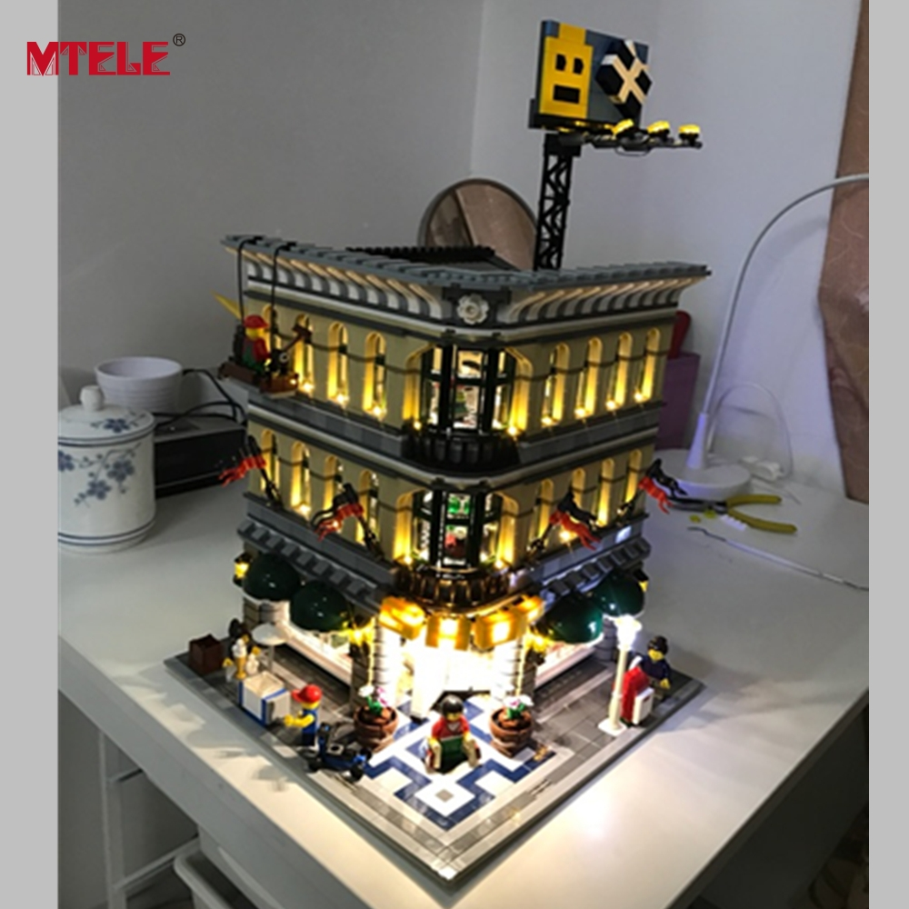 MTELE Brand LED Light Up Kit til Grand Emporium Blokke Kompatibel med Lego 10211 For Kids Christmas Gift