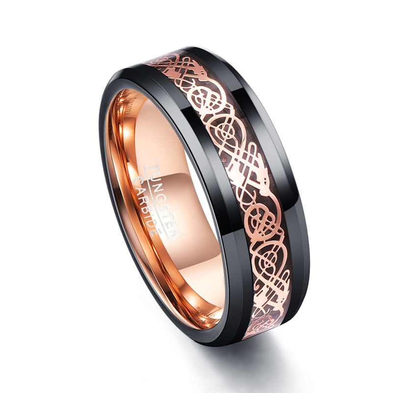 New Trendy Carbide Fiber Rose Gold Dragon Black Color Men Rings 100% Tungsten Carbide Party Gift Male Jewelry 2018