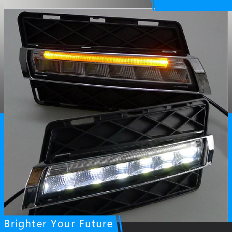Car Styling For Mercedes-Benz GLK 2008 2009 2010 2011 2012 Auto LED Daytime Running Light DRL Yellow Signal 2x t10 led w5w car led auto lamp 12v clearance parking light bulbs with projector lens for mercedes benz w203 glk r ml w204 c e