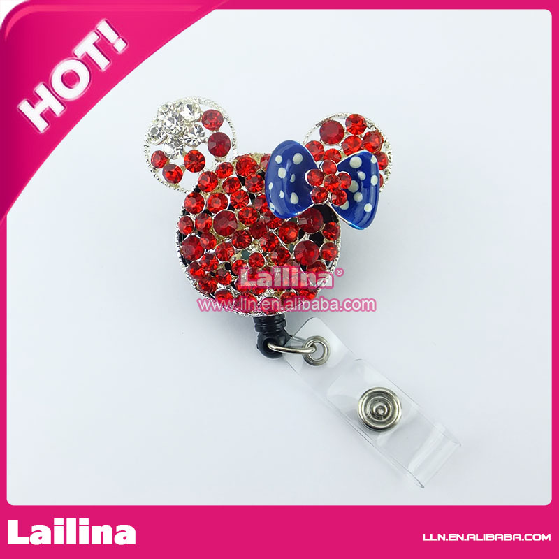 50pcs/lot Minnie Mouse Head ID Card Holder Clips With Rhinestone and Retractable Holders
