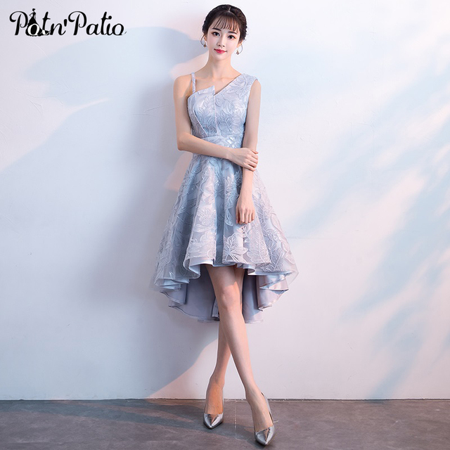 Elegant High Low Prom Dress Sexy One Shoulder Backless Embroidered
