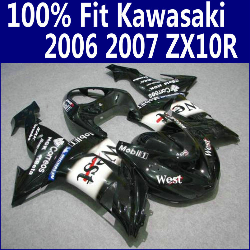 US $330 0 |Lowest price Fairing kit for Kawasaki fairings Ninja ZX 10R 2006  2007 black white West bodywork set ZX10R 06 07 ZS67 +7 gifts-in Covers &