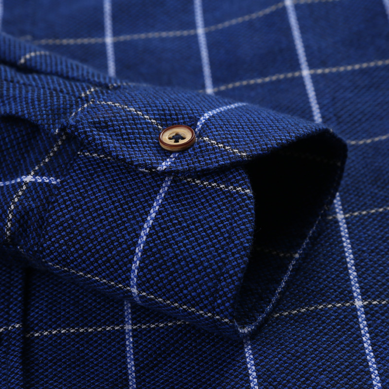 Mens Dark blue Plaid Casual Shirt Breathable Long Sleeve Slim Fit Button-down Business Work Dress Shirt Camisa social masculina