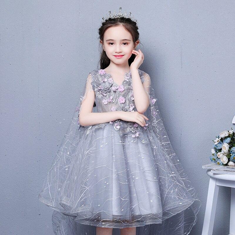 Robe princesse royale col en v Appliques robes de demoiselle d'honneur pour robe de bal de mariage robe de Communion sainte avec longue Cape de fuite B46