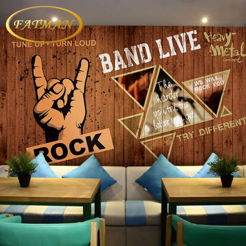 Custom photo wallpaper 3D Rock music notes retro wallpaper mural KTV cafe bar cabaret club 3D stereo custom wallpaper электрогриль every music 5118d maxhler 3d