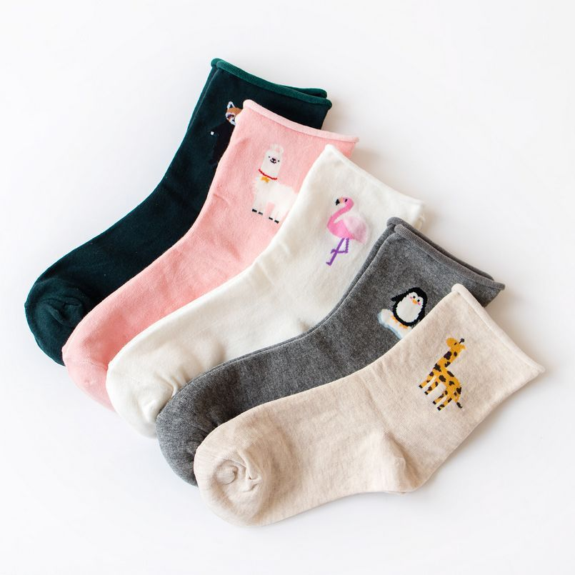 Cartoon Animals Penguin Flamingo Alpaca Giraffe Pattern Fashion Volume Edge Woman   Socks   Multi-Color Casual Cotton   Socks   Female