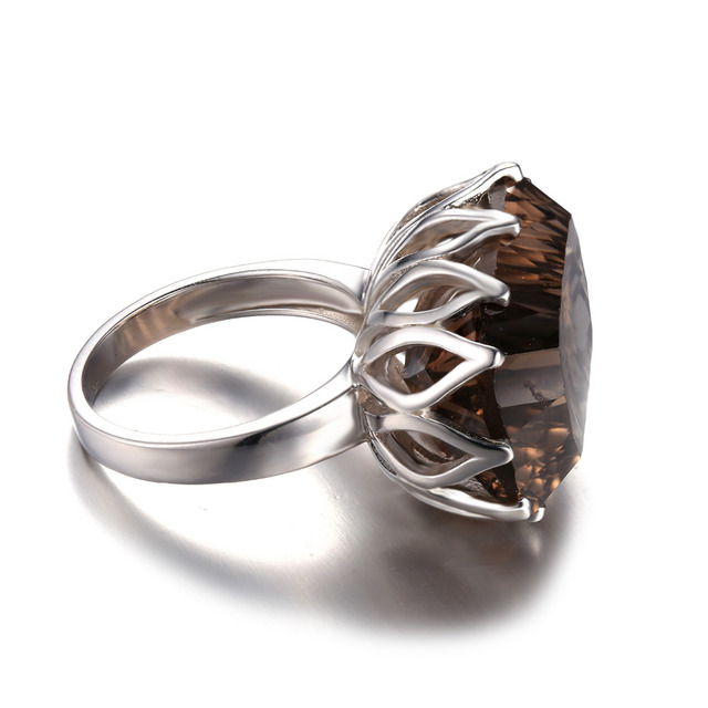 Jewelrypalace Huge Unique Concave 20ct Genuine Natural Smoky Quartz Ring Solid 925 Sterling Silver Rings for Women Fine Jewelry