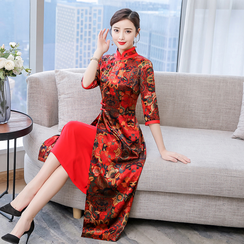 2020 Vietnam Clothing Aodai Vietnam Traditional Dress For Woman Ao Dai Long Robe Oriental Dress Modern Flower Printing Stain