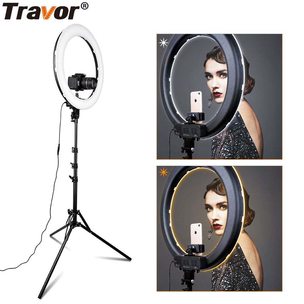 "Travor RL-18A Camera Photo Video 18"" 55W 512PCS LED 3200K~5500K Dimmable Photography Ring Video Light for Camera Fill Light"