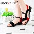 El Envío Gratuito! 2016 sandalias negras de las mujeres zapatos de punta abierta cuñas de cuero genuino nuevo estilo de moda sandalias de tacón plano