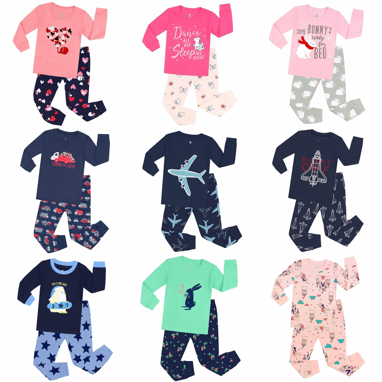 3ce97c794 Pijamas de manga larga 100 de algodón para niños ropa de dormir para bebés pijamas  para