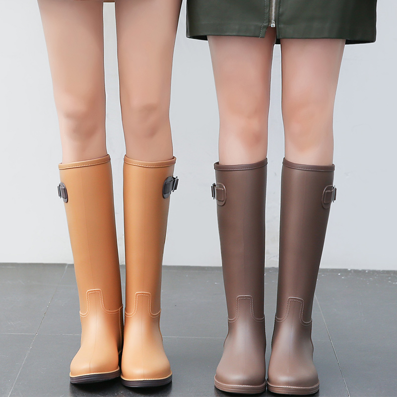 Simple Fashion Rain Boots Female Rain Boots Summer High Boots Water Boots Non-slip Rubber Shoes Ladies Water Shoes цена