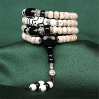 Authentic Hainan 3A Star Moon Bodhi Seed Beads Buddhist 108 Mala Prayer Bracelet & Glaze Onyx Beads for Men or Women Wholesale