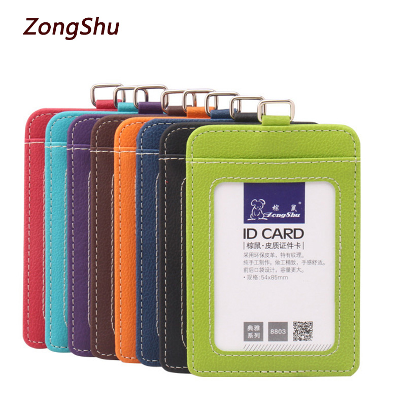 2018 New fashion ID Holders Bank Credit Card Holder Unisex PU Leather card case business Working Id Badge covers without lanyard new fashion pu leather credit card