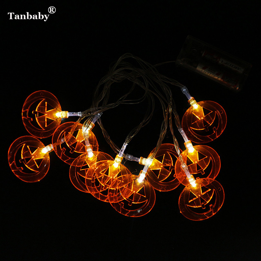Tanbaby 2PCS/Lot Halloween Pumpkin LED String Lights Battery Operated 2M 10 LEDs Halloween New Year Holiday Christmas Decoration