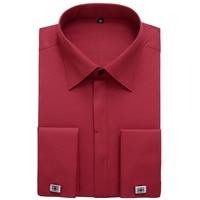 Men S Regular Fit French Cuff Spread Collar Dress Shirt No Pocket Male Formal Long Sleeve