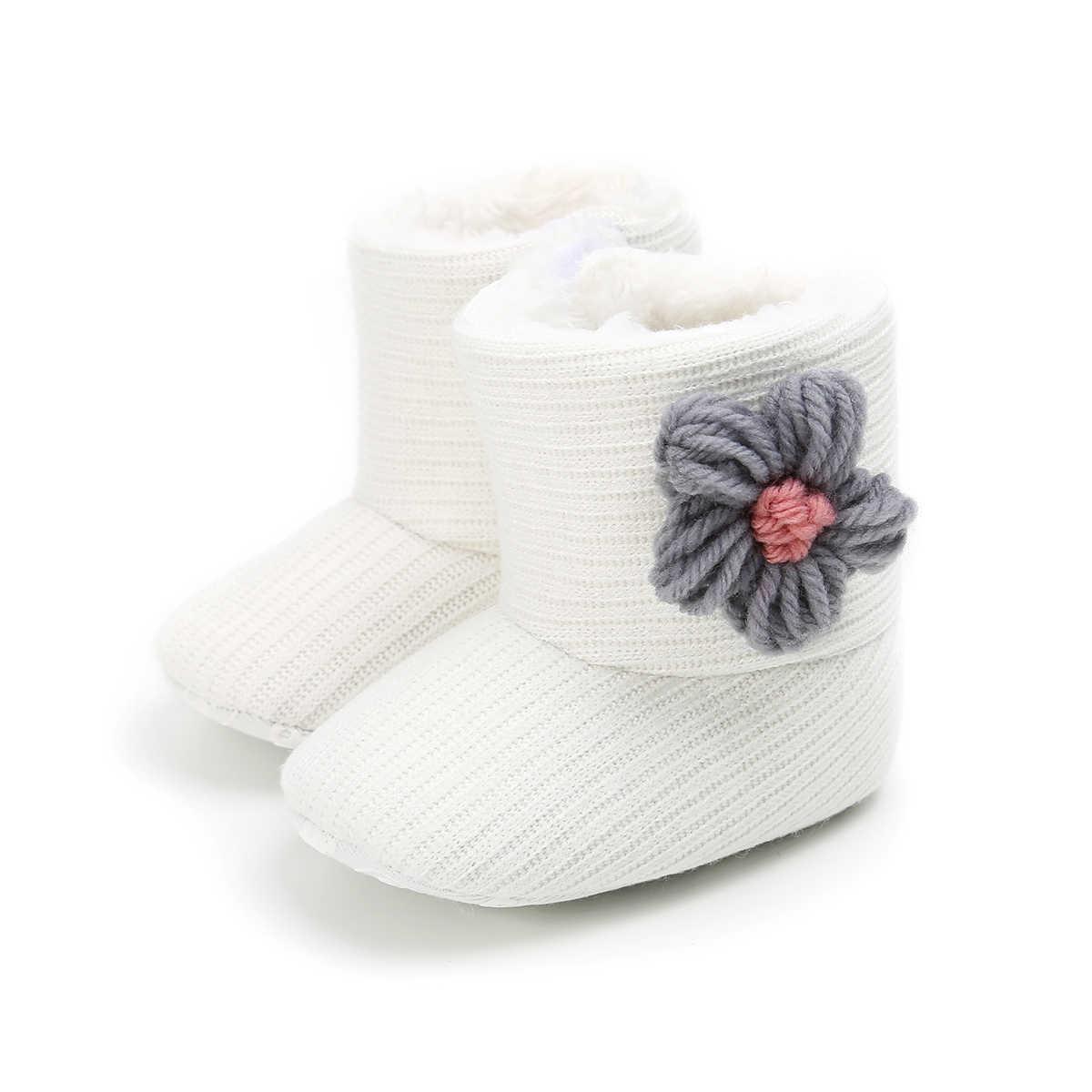 Bebek Yürüyor Bebek Kız Kış Kar Botları Çocuk Kalın Pamuklu Kumaş Çizmeler Yuvarlak Ayak Iplik Çiçek Kürk Kayma Düz topuk Shoes0-18M